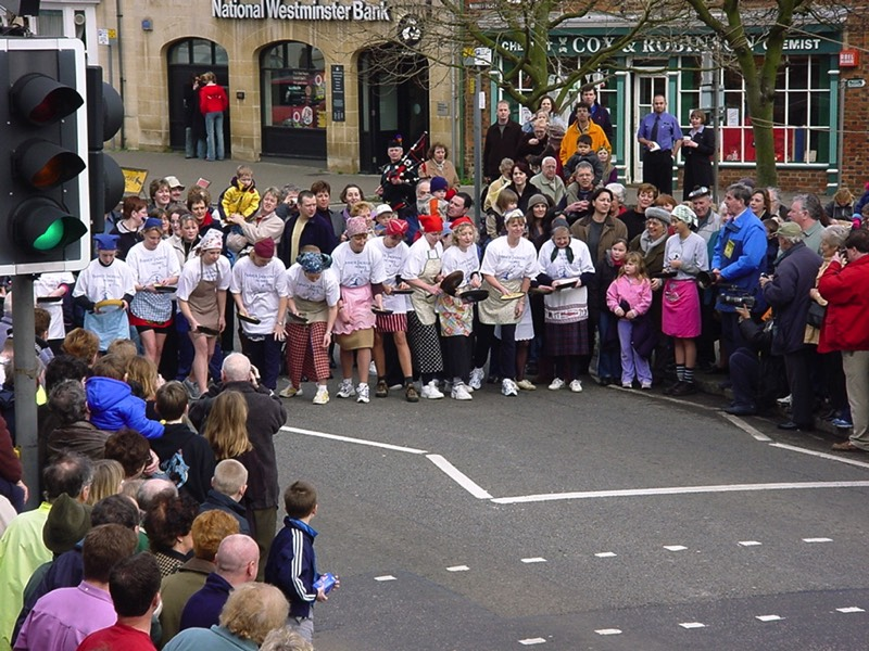 Olney Pancake Race start from the Bull Inn